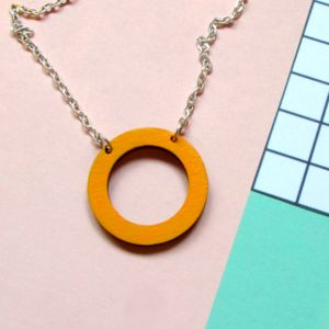 Mustard Yellow Wooden Circle Hoop Necklace - necklaces & pendants