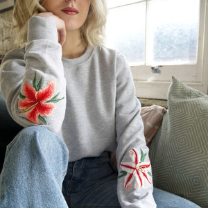 Embroidered Lily And Hibiscus Grey Jumper