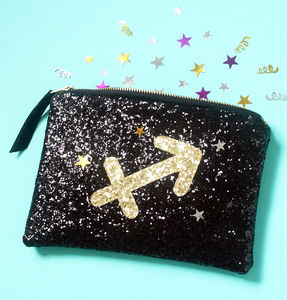 Zodiac Sign Glitter Clutch Bag - personalised