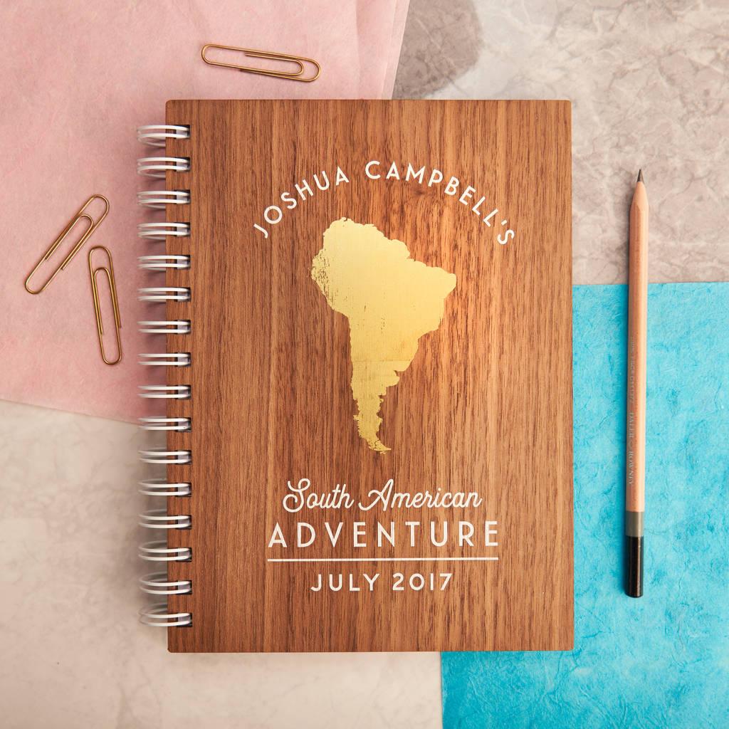 Personalised Gold Travel Walnut Journal