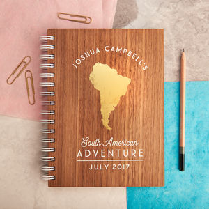 Personalised Gold Travel Walnut Journal - wanderlust & adventure