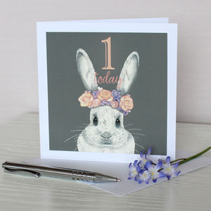 Bunny With Flower Crown Birthday Age Card