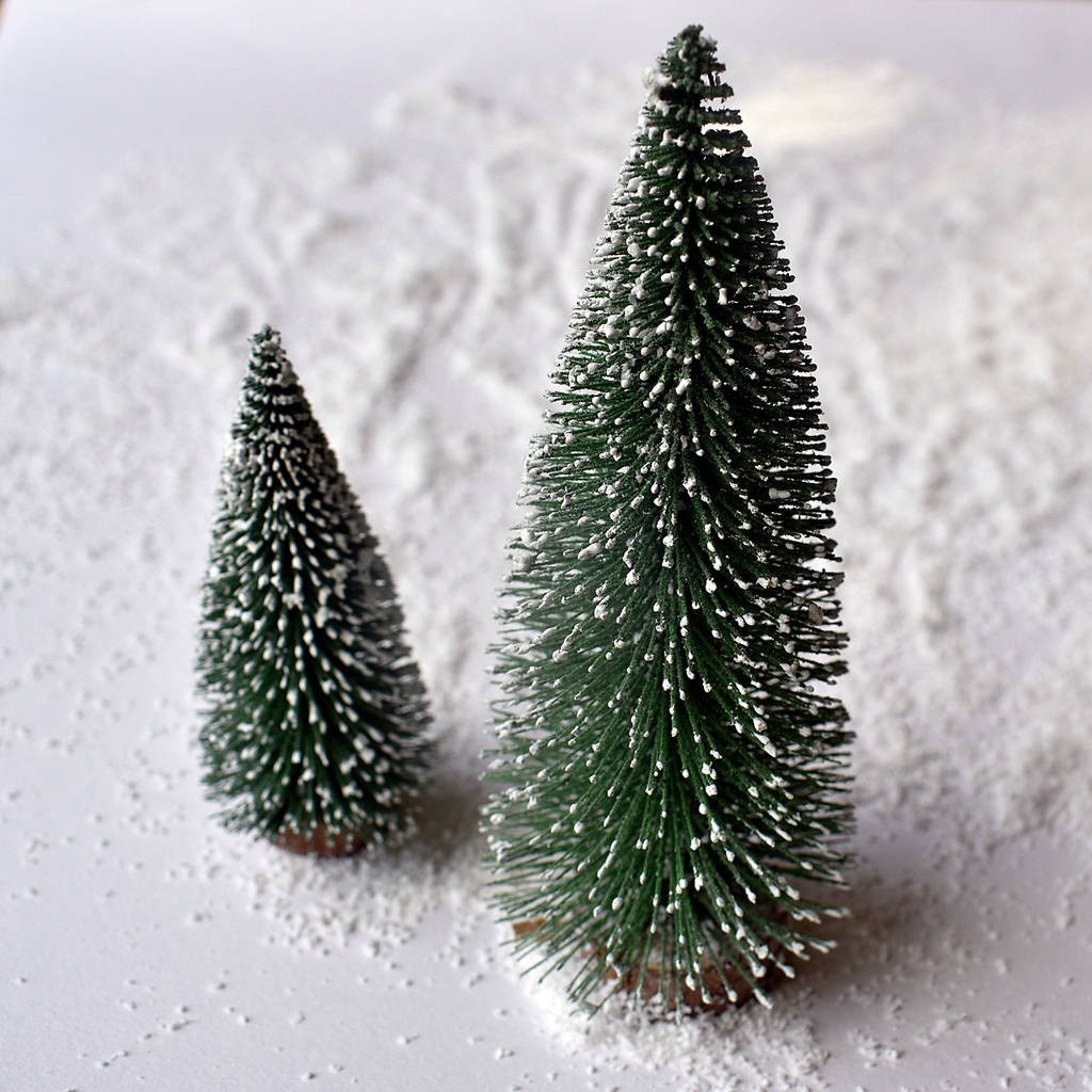online store 267f3 b5daf Set Of Two Snowy Bottle Brush Christmas Trees