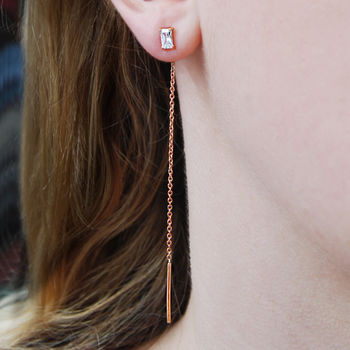 Rose Gold White Topaz Threader Earrings