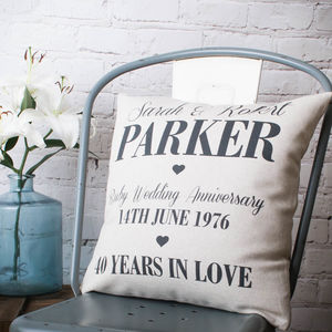 Anniversary Cushion Cover - 4th anniversary: linen