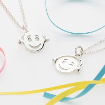 Silver Emoji Spinner Necklace by Lily Charmed