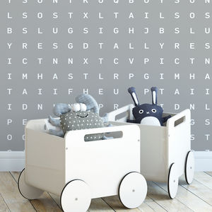 'Sugar And Slugs' Word Search Wallpaper Grey - home decorating