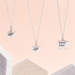 Mummy And Me Silver Mama And Baby Bear Necklaces