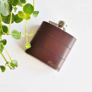Custom Leather Hip Flask With Name