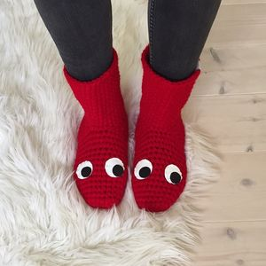 Handmade Crochet Slipper Socks With Googly Eyes - women's fashion