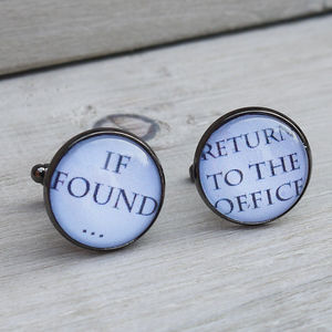 'If Found' Gunmetal Cufflinks - cufflinks