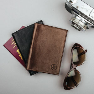 Personalised Italian Leather Passport Cover 'The Prato' - passport & travel card holders