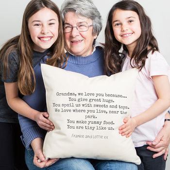 Personalised 'We Love You Grandma' Cushion