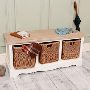 Auvergne Three Compartment Hall Storage Bench