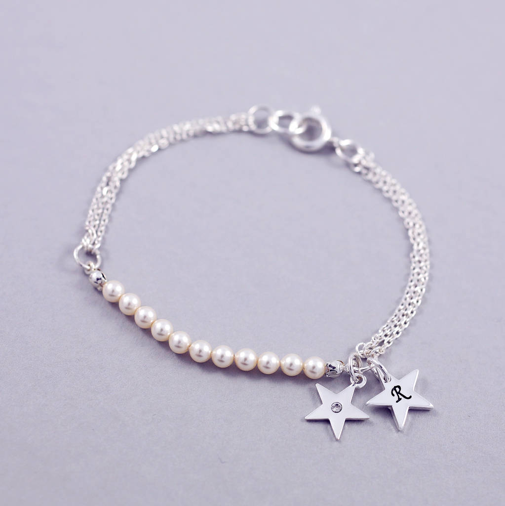 Swarovski Charm Bracelets: Charm Bracelet With Swarovski Glass Pearls By J&s