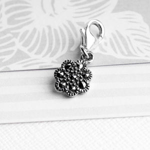 Marcasite Flower Charm In Sterling Silver - women's jewellery