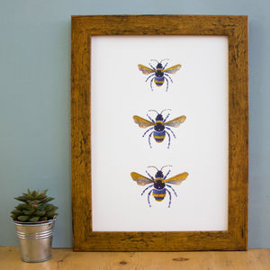 Three Gold Bees Hand Painted Metallic Print