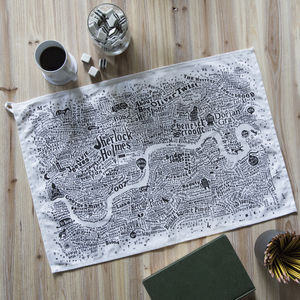 Literary London Map Tea Towel