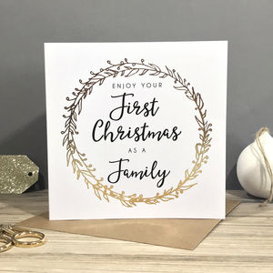 'First Christmas As A Family' Foiled Card - cards & wrap