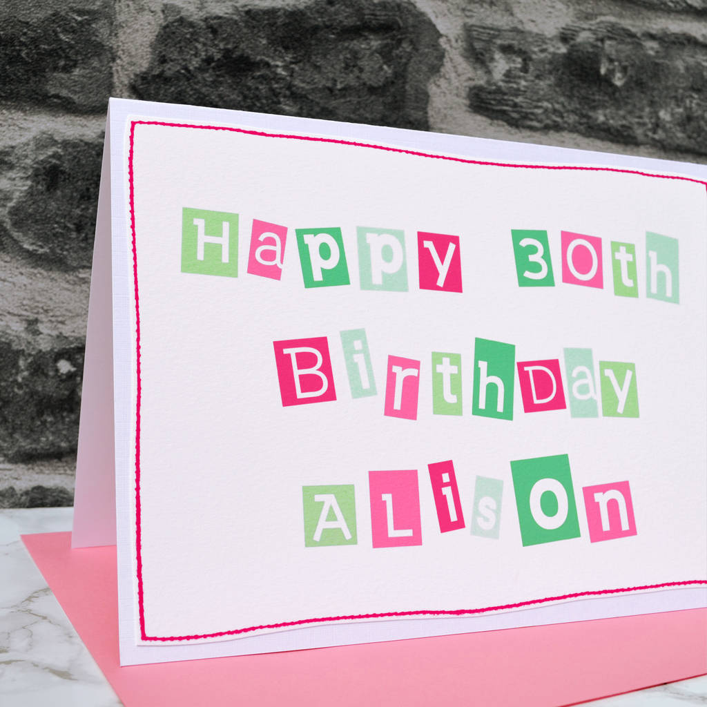 Large A5 Personalised Girls 30th Birthday Card