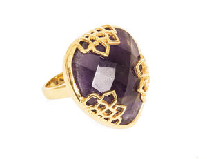 Gold Cocktail Ring Honeycomb