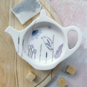 Bone China Teabag Tidy Willow Warbler Design - crockery & chinaware