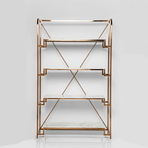 Art Deco Rose Gold And Marble Shelving Unit - furniture
