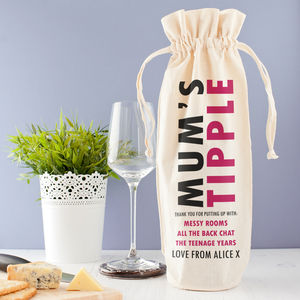 Personalised 'Mum's Tipple' Wine Bag - gifts for the home