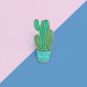 Gold And Blue Cactus Enamel Pin - pins & brooches