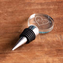 personalised wine bottle stopper - personalised bottle stopper - personalised wine stopper - personalised carved heart gifts for couples - personalised initial gifts