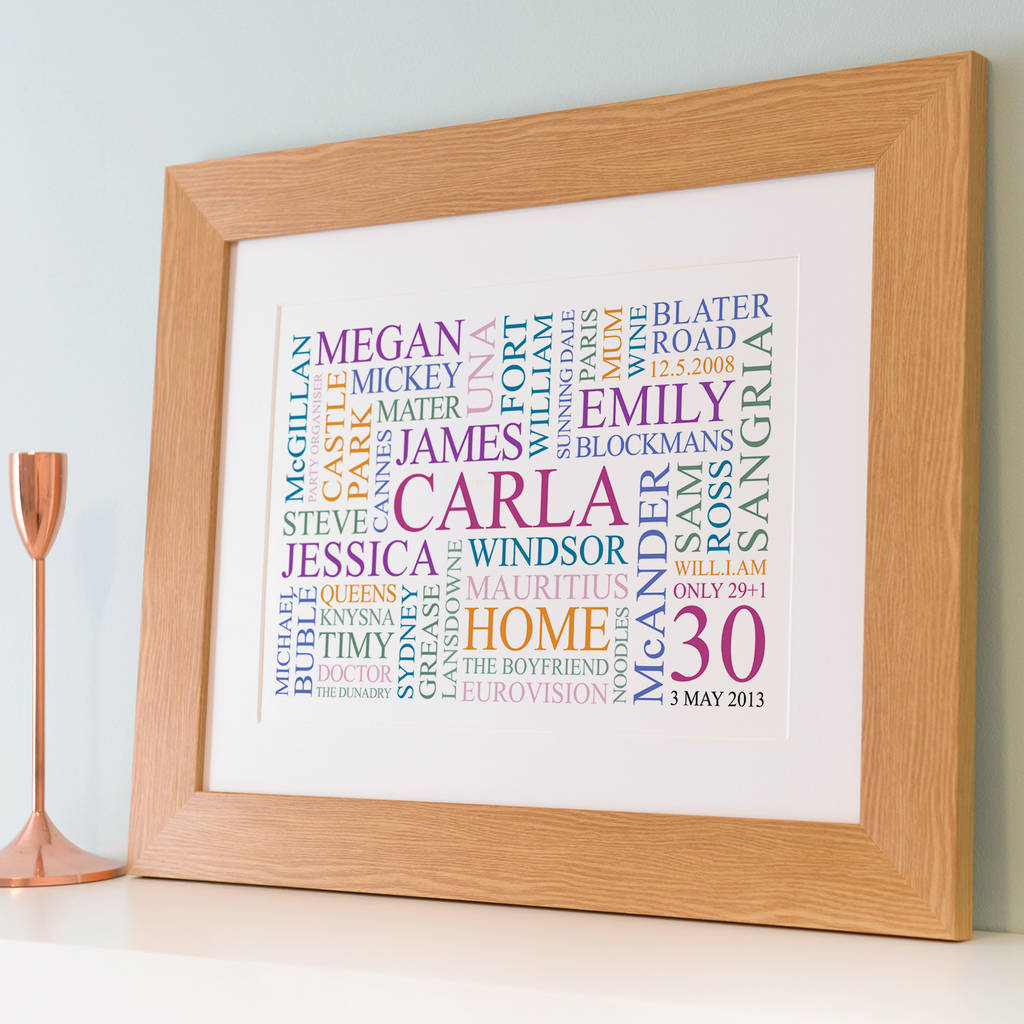 personalised 30th birthday word art print by cherry pete ...