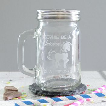 Personalised Engraved Unicorn Drinking Jar