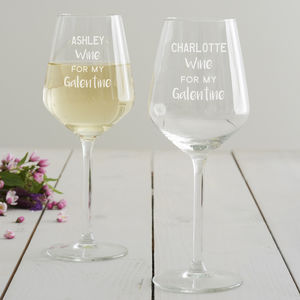 Personalised 'Galentine' Wine Glass - tableware