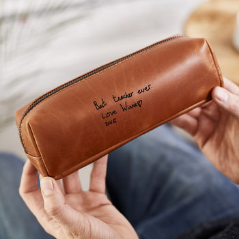 Teacher's Personalised 'Thank You' Leather Pencil Case