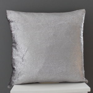 Platinum Grey Velvet Cushion - bedroom