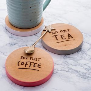 'But First Coffee' Coloured Wooden Coaster - stocking fillers