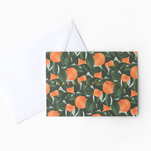 Botanical Orange Fruit 'Happy Birthday' Card