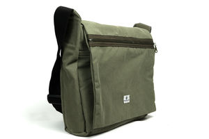 Olive Green Waxed Canvas Laptop Messenger Vegan Bag - cross body bags
