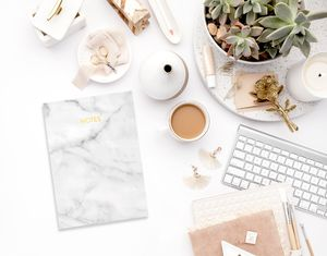 Marble Gold Foil A6 Notebook - marble gifts