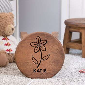 Personalised Flower Designed Wooden Stool