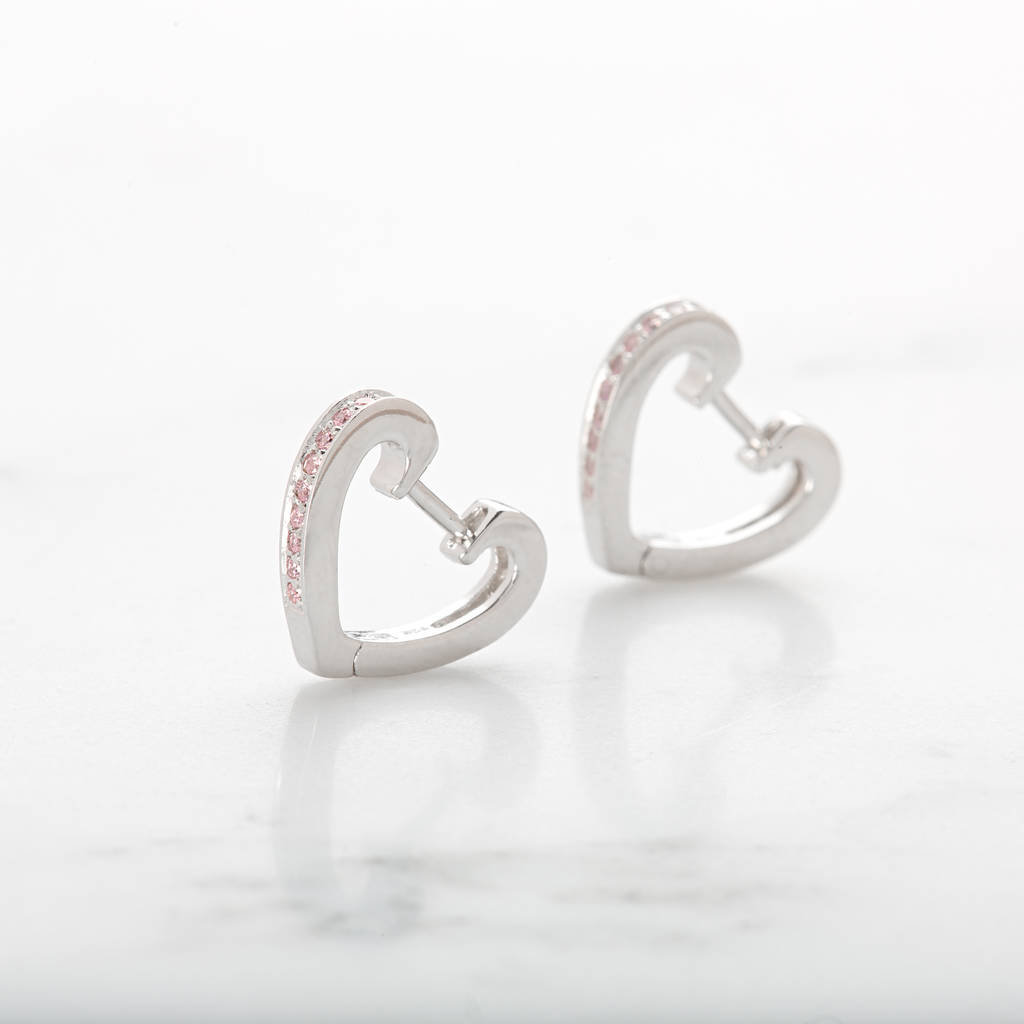 hoop hei sterling wid qlt shaped heart p silver earrings prod