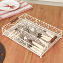 Cream Farmhouse Chickenwire Cutlery Tray