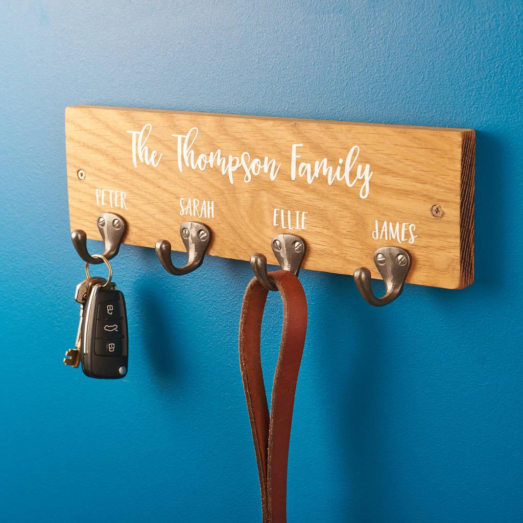Personalised Family Oak Key Holder