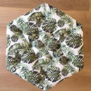 Tropical Leaf Pattern Buttoned Hexagonal Footstool