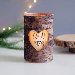 Personalised Wood Bark Heart Candle Holder Year