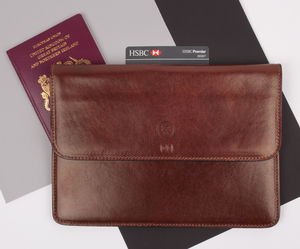 Personalised Leather Travel Wallet. 'The Torrino' - men's travel gifts