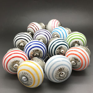 Ceramic Striped Door Knobs Kitchen Cupboard Handles