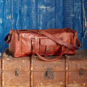 Large Brown Leather Holdall Zipped Pockets - holdalls & weekend bags