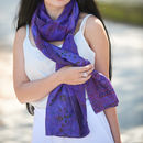 Purple Hand Stitched Ethically Made Silk Scarf