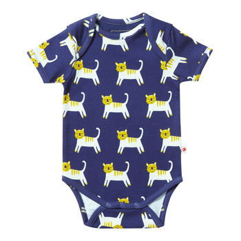 Unisex Navy Blue Tiger Short Sleeved Baby Bodysuit